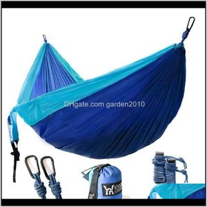Hammocks Outdoor Furniture Home & Garden Drop Delivery 2021 Lightweight Nylon Portable Camping Hammock Parachute Double For Backpacking Trave