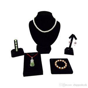 5Pcs Black Velvet Earring Bangle Display Rack Bust Holder Jewelry Organizer Pendant Storage Necklace Watch Kit Bracelet Kearc