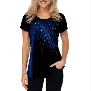 Plus Size Women's Fashion Short Sleeve Round Collar 3D Printing Shirts Blouses Ladies Casual Printed Summer T-shirts Tops
