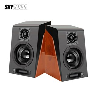 USB Wired Wood Grain Bass Stereo Subwoofer Sound Box AUX Input Computer Speakers Desktop PC Phones