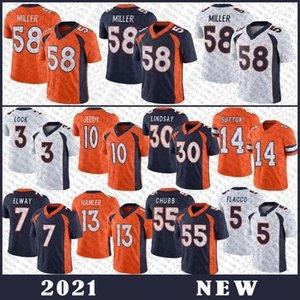 58 von Miller Football Jersey 10 Jerry Jeudy 3 Drew Lock 14 Courtland Sutton 55 Bradley Chubb 7 John Elway Hohe Qualität Nähte Trikots DenverBronco.
