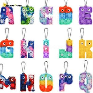 DHL Free Sensory fidget bubble key ring Alphabet 26 letters shape push bubbles board keychain finger puzzle charm tie dye rainbow FY30