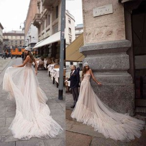 Julie Vino A Line Wedding Dress Strapless Sequins Appliques Crystal Tulle Wedding Dresses Sweep Train Boho Bridal Gowns