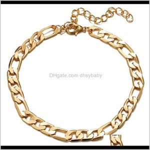 Anklets Drop Delivery 2021 Color Figaro Snake Link Chain Anklet For Women Men Ankle Bracelet Fashion Beach Aessories Foot Jewelry Ps1211 Fpuq