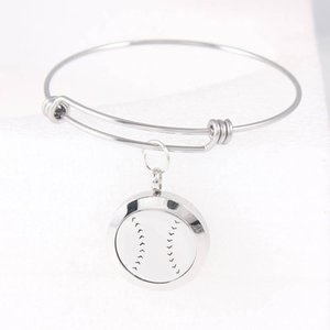 25mm Bassball Aroma Locket Bracelet Stainless Steel Perfume Expandable Bangle Essential Oil Diffuser For Women