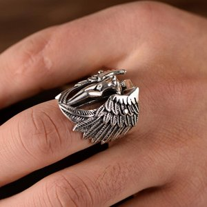 Rings Hot Men Gothic Cross Guardian Angel Wings Carved Biker Finger Ring Jewelry