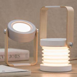 Table Lamps Creative Wooden Handle Foldable Reading Lamp Portable Lantern Retractable Eye Protection Led