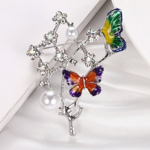 Elegant Charm Butterfly Animal Pearl Brooch Women Rhinestone Large Butterflies Jewelry Colorful Insect Pins Vintage Fashion Gifts