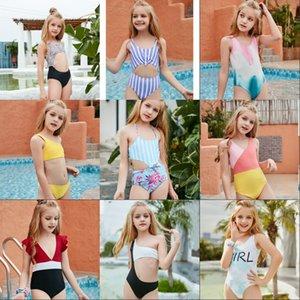 Çocuk Mayo Küçük Çocuk Kız Mayo Bikini Banyo Mektubu Baskı Leopar Kravat Boya Bebek Yüzmek Giyim Takım 649 Y2