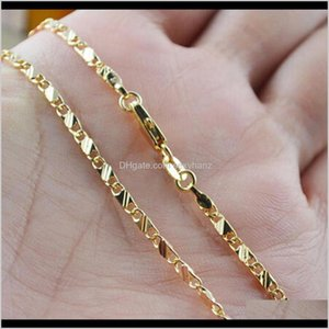 Chains High Quality Wholesale Fashion 16-30 Inches Chain Necklace 18K Yellow Gold Filled Jewelry For Men Women Epacket 6Eyj2 O3Hgy