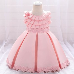 Girl's Dresses 1st Birthday Dress For Baby Girl Princess Lace Ruffle Pettiskirt Formal Party Kids Clothes Children Clothing 0-5Y B4705