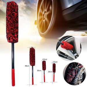 Auto Car Wheel Hub Cleaning Brush Flexible Long Handle Premium Wool Car Rim Brushes Soft Fiber Tire Cleaning Brush Tools