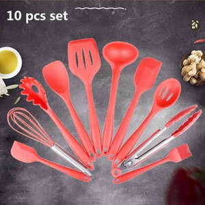 Silicone Kitchen Utensils 10 Pcs Cooking Set Pan Spatula Spoon Ladle Turner Egg Beaters Spaghetti Server Slotted Cooking Tools Y0428