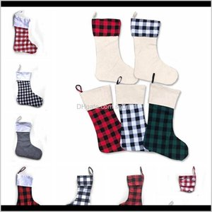Festive Party Supplies Home Garden Drop Delivery 2021 12Styles Stockings Check Stocking Plaid Xmas Socks Candy Gift Bag Indoor Hanging Pendan