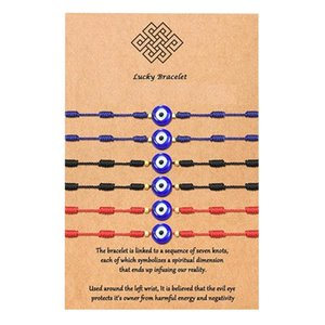 6Pcs Kabbalah Bracelet 7 Knots Of Red Thread Unisex Adjustable Eye Protection Good Luck Kit With Wish Card Charm Bracelets