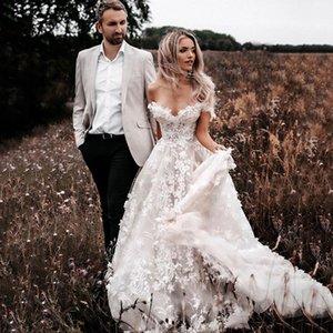 Bohemian Boho Wedding Dress For Women 2021 robe de mariée 3D Flower Off The Shoulder Gowns Country Bridal
