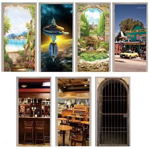 Door Sticker Arches 3d Flower Seligman Coffee Gift Shop Animal Cage Restaurant Space Station Cafe Home Decoration Paste Lakeside1