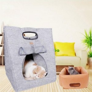 In 1 Pet Cat Felt Beds House Handbags Portable Warm Foldable Multi-functional For Small Dog Puppy Cats Durable Nest Travel & Furniture