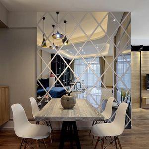 ملصقات الحائط الذاتي لاصق 3d مرآة ملصقا diy الماس مثلثات الاكريليك خلفيات لغرفة المعيشة الديكورات المنزلية