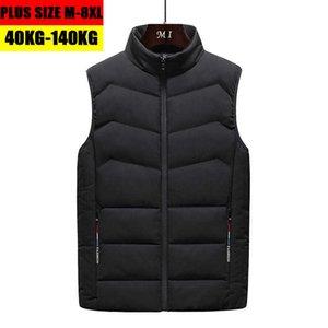 Plus Size 7XL 8XL Casual Vest Men Winter Autumn Sleeveless Jacket Cotton Parkas Coats Waistcoats Jaqueta Masculina H0823