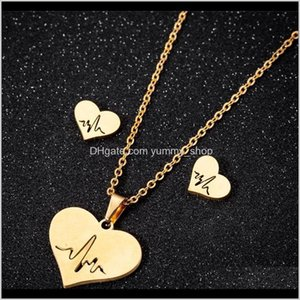 Stainless Steel Love Heart Necklace Women Gold Heartbeat Stud Earrings Sets For Girls Wedding Jewelry 6Pes0 Znqr6