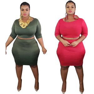 Women Fall Clothing Half Sleeve Crop Top and Skirt Sexy Club Outfits Plus Size Womens Two Piece Skirt Set Wholesale Dropshipping