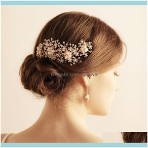 Wedding Jewelrywedding Bridal Pearl Headband Aessories Crystal Rhinestone Tiara Crown Flower Head Piece Jewelry Princess Queen Hair Band Dro