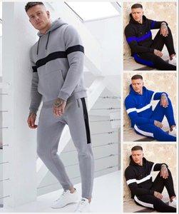 Blue Casual Men Set Fashion Letter Pattern Mens Sportwear Tracksuit Long Sleeve Hoodies Drawstring Long Pant Suit Male
