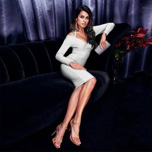 Fashion White Black Banadge Dress Women Sexy Off Shoulder Long Sleeve Bodycon Wedding Cocktail Party Dress Vestidos Wholesale1