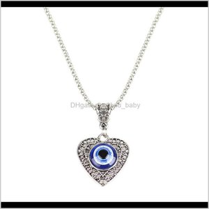 S2049 Fashion Jewelry Hollow Out Heart Evil Eye Necklace Blue Eyes N155Y V4Cpw