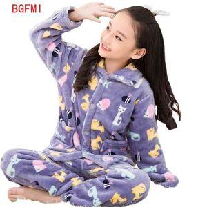 Autumn Winter Children's Flannel Lapel Cardigan Pajamas Baby Thickened Teen Big Boys Christmas Pyjamas for Girls Boy Kid 210915