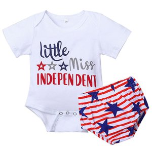 Baby Striped Clothes Sets July 4 Letter Rompers Infant Cartoon Onesies Girls Casual Outfits Boys Elastic Pants Toddler Stars PP Shorts 0-24M 06210409