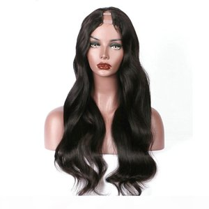 "Long Wavy U Part Human Hair Wigs Virgin Malaysian Body Wave Remy Glueless Human Hair Upart Wig Middle U Openning 1""x4"""