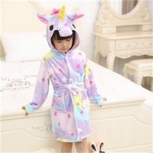Hooded Unicorn Bambini Accappatoio Animale Orecchio Decorare Cute Kid NightGowns Pocket Corda Flanella Pigiama Boy Girl Stars 24CQ G2