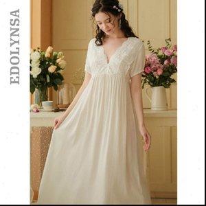 Vintage Gotik Victoria Gece Elbise Kadın Pijama Beyaz Pamuk Flare Kol V Boyun Dantel Süslenmiş Fırfır Hem Yaz Gecelik T682