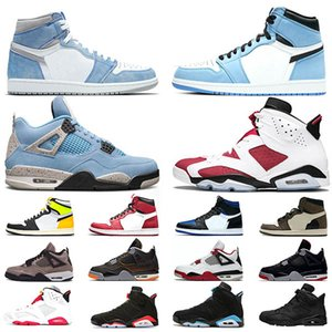 retro 1 4 6 de hombres 6 6s zapatos de baloncesto Tinker UNC Azul Negro Gato Blanco Infrarrojo Carmín Maroon Toro Mens Trainer Sport Sneaker Tamaño 41-47