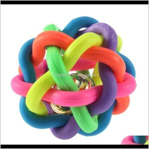 Toys Chews 6Cm Dog Puppy Cat Rainbow Rubber Colorful Bell Knitting Pet Sound Ball Fun Playing Toy Cgqpq Wuo85
