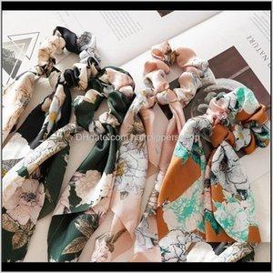 Estilo de Verão Floral Mulheres Headwear DIY Bow Streamers Scrunchies Ribbon Cabelo Cabilada Cavalo Cavalo Cavalos Acessórios Zhrwu T1VFJ