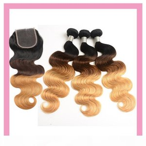 Peruvian Human Hiar 1B 4 27 Ombre Hair Bundles With 4X4 Lace Closure With Baby Hair Body Wave 1B 4 27 Hair Products 10-28inch