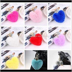 Heart Ball Pom Keychain Fluffy Faux Rabbit Fur Pompom Women Bag Pendant Jewelry Key Chains Party Favor Rra28281 Ty4Tj Ijure