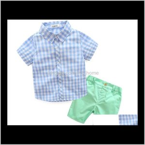 Clothing Sets Kids Clothes Toddler Boys Short Sleeved Plaid Stand Collar Shirt Elastic Shorts 2Pcs Gentleman Set Lattice 2 Color Outfi Cugdf