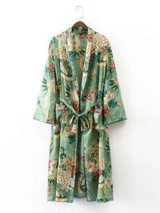 Elegant Floral printed kimono blouses shirt women fashion kimono japanese long cardigan Summer bohemian beach belt sashes casual blouses new