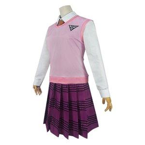 Anime CostumesAnime Danganronpa V3 Cosplay Costumes Akamatsu Kaede School Jk Uniform Shirt Vest Skirt Socks Wig Set Cos Costumes For Women