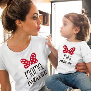 Mama ve Mini Aile Eşleştirme Giysileri Pamuk Kawaii Yay Tshirt Anne ve Me Giyim Tops Bebek Kız Giysileri Eşleşen Kıyafetler
