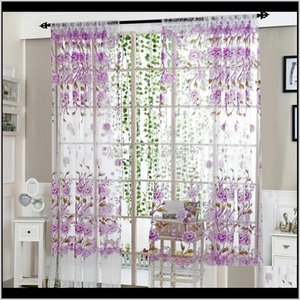 & Drapes Flowers Printed Sun-Shading Curtain Sheer Voile Tulle For Bedroom Living Room Kitchen Peony Window Curtains Home Textile Wsam S9Ul5