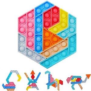 Rainbow color push bubble poppers jigsaw tangram puzzle Toys sensory fidget pop bubbles fingertip desktop parent child game shapes changing G61TSQQ