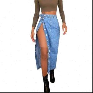 High Waist Sexy Slit Women Skirts Denim Fashion Summer Blue Long Button Female Jeans S 2XL