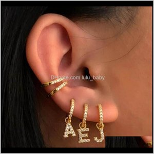 Hoop Hie Gold Sier Color Clear Cz Paved 26 Initial Charm Circle Dangle Drop Earring With Name Letter Alphabet Earrings For Lady Girl G On0Hs