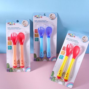 Cups, Dishes & Utensils Baby'S Thermochromic Fork Spoon Anti Scalding Tableware Set Silicone Children'S Soft Head Auxiliary