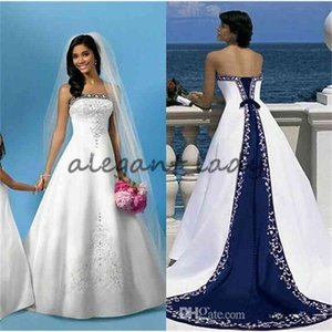 White And Blue Satin Wedding Dresses A Line Royal Bandage Women Embroidery Vintage Beach Bridal Gown Court Train Elegant Wedding Gowns